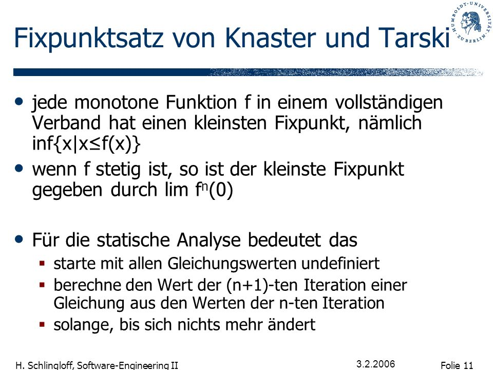 Folie 11 H. Schlingloff, Software-Engineering II 3.2.2006 Fixpunktsatz von Knaster und Tarski jede monotone Funktion f in einem vollständigen Verband