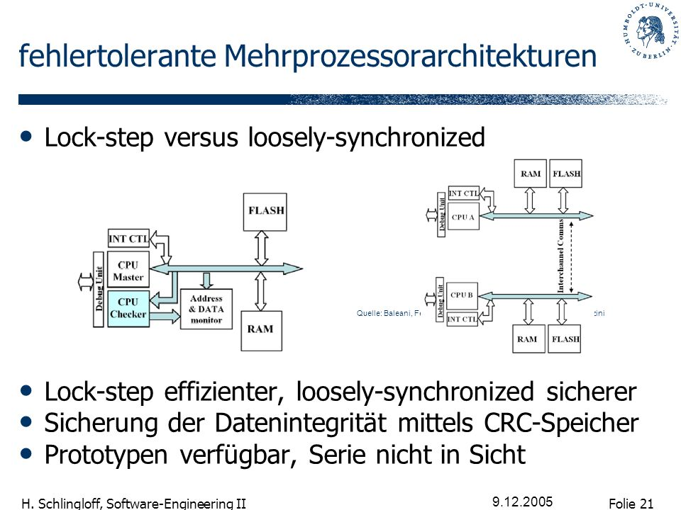 Folie 21 H. Schlingloff, Software-Engineering II 9.12.2005 fehlertolerante Mehrprozessorarchitekturen Lock-step versus loosely-synchronized Lock-step