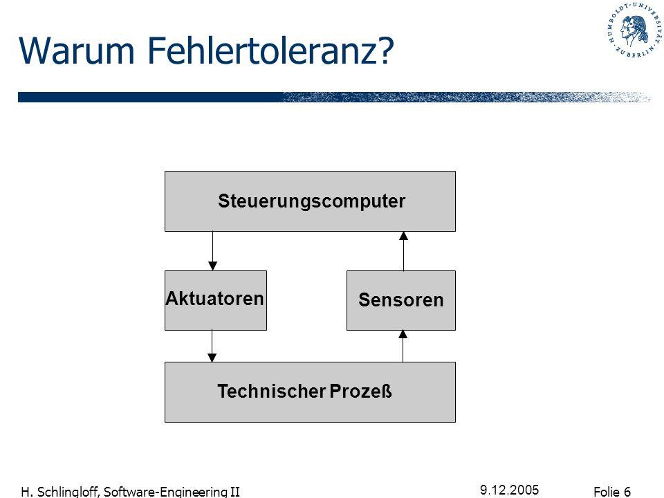 Folie 6 H.Schlingloff, Software-Engineering II 9.12.2005 Warum Fehlertoleranz.