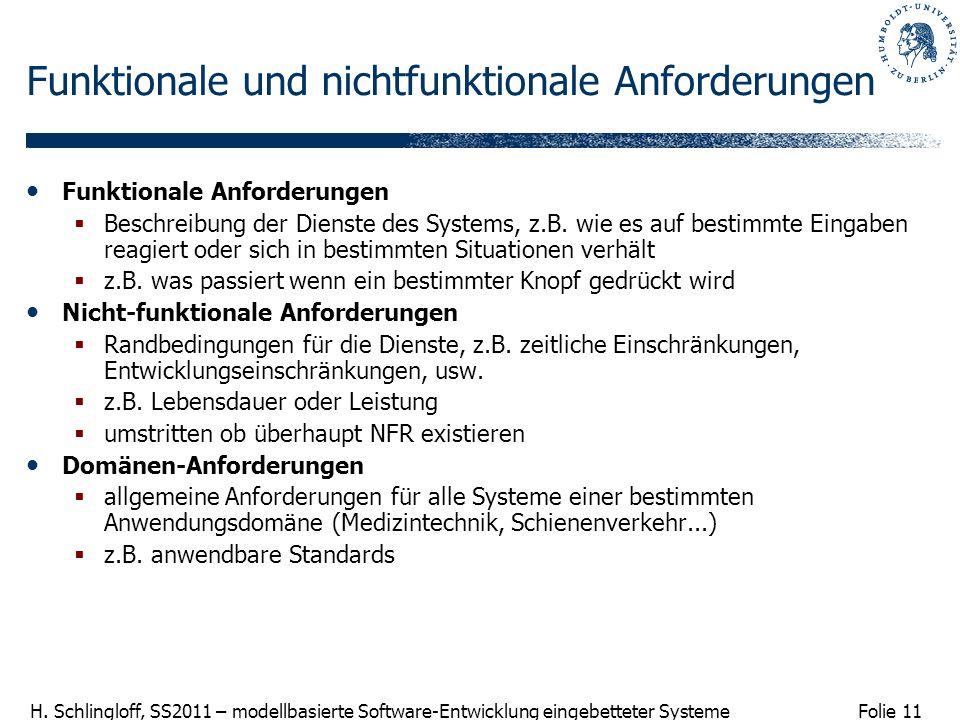 Folie 11 H. Schlingloff, SS2011 – modellbasierte Software-Entwicklung eingebetteter Systeme Funktionale und nichtfunktionale Anforderungen Funktionale
