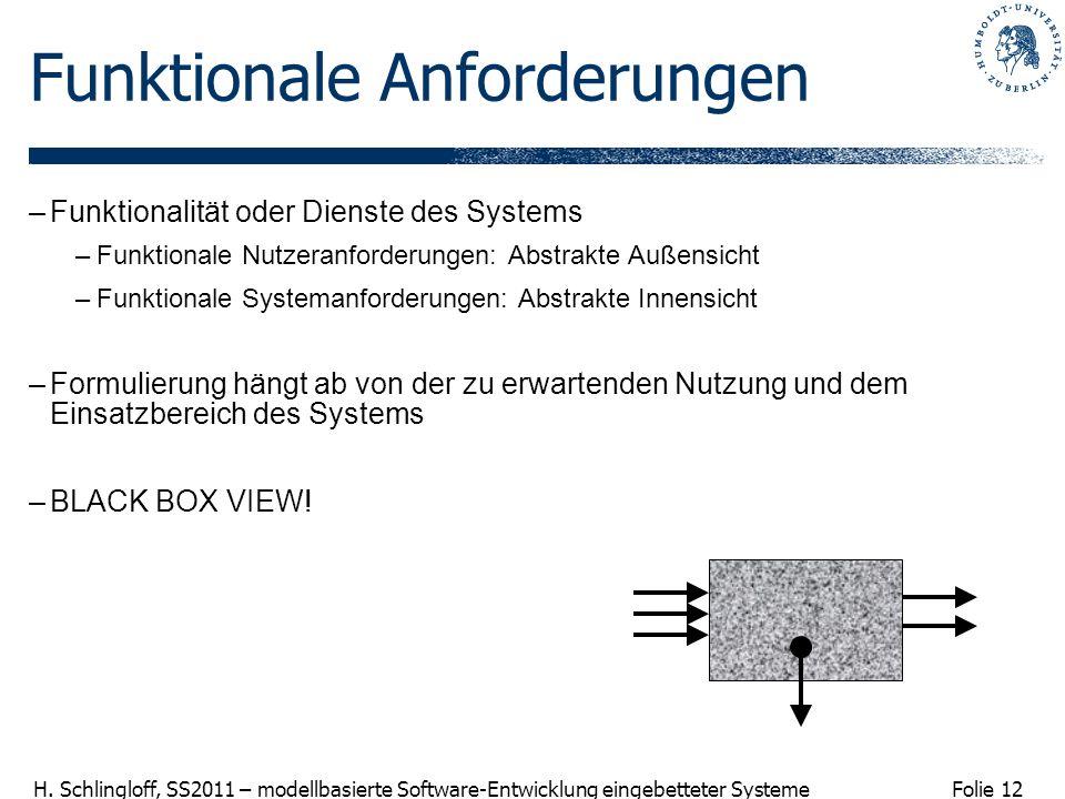Folie 12 H. Schlingloff, SS2011 – modellbasierte Software-Entwicklung eingebetteter Systeme Funktionale Anforderungen –Funktionalität oder Dienste des