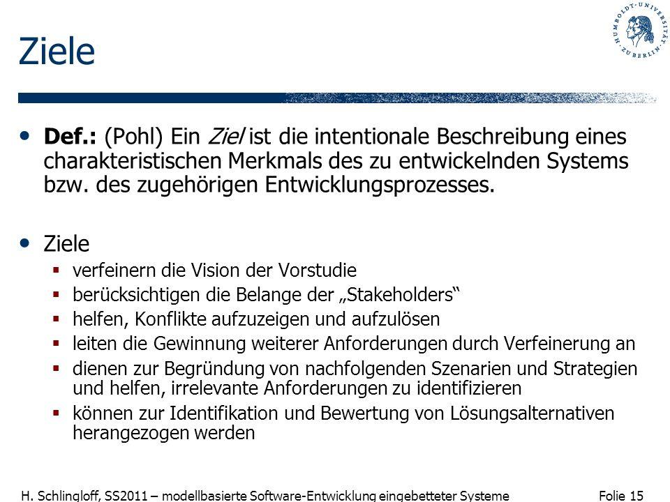 Folie 15 H. Schlingloff, SS2011 – modellbasierte Software-Entwicklung eingebetteter Systeme Ziele Def.: (Pohl) Ein Ziel ist die intentionale Beschreib