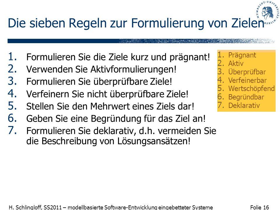 Folie 16 H. Schlingloff, SS2011 – modellbasierte Software-Entwicklung eingebetteter Systeme Die sieben Regeln zur Formulierung von Zielen 1. Formulier