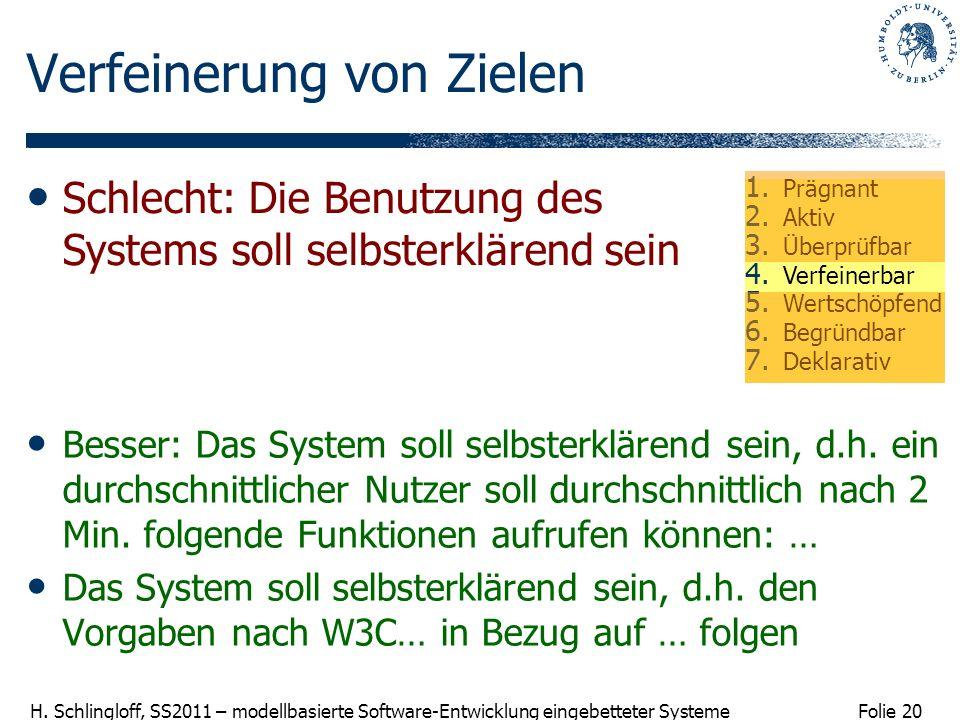 Folie 20 H. Schlingloff, SS2011 – modellbasierte Software-Entwicklung eingebetteter Systeme Verfeinerung von Zielen Besser: Das System soll selbsterkl