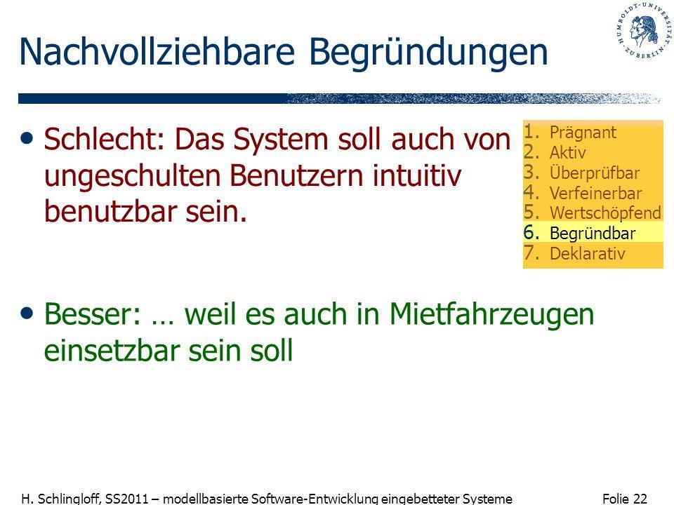 Folie 22 H. Schlingloff, SS2011 – modellbasierte Software-Entwicklung eingebetteter Systeme Nachvollziehbare Begründungen Besser: … weil es auch in Mi