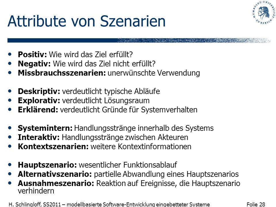 Folie 28 H. Schlingloff, SS2011 – modellbasierte Software-Entwicklung eingebetteter Systeme Attribute von Szenarien Positiv: Wie wird das Ziel erfüllt