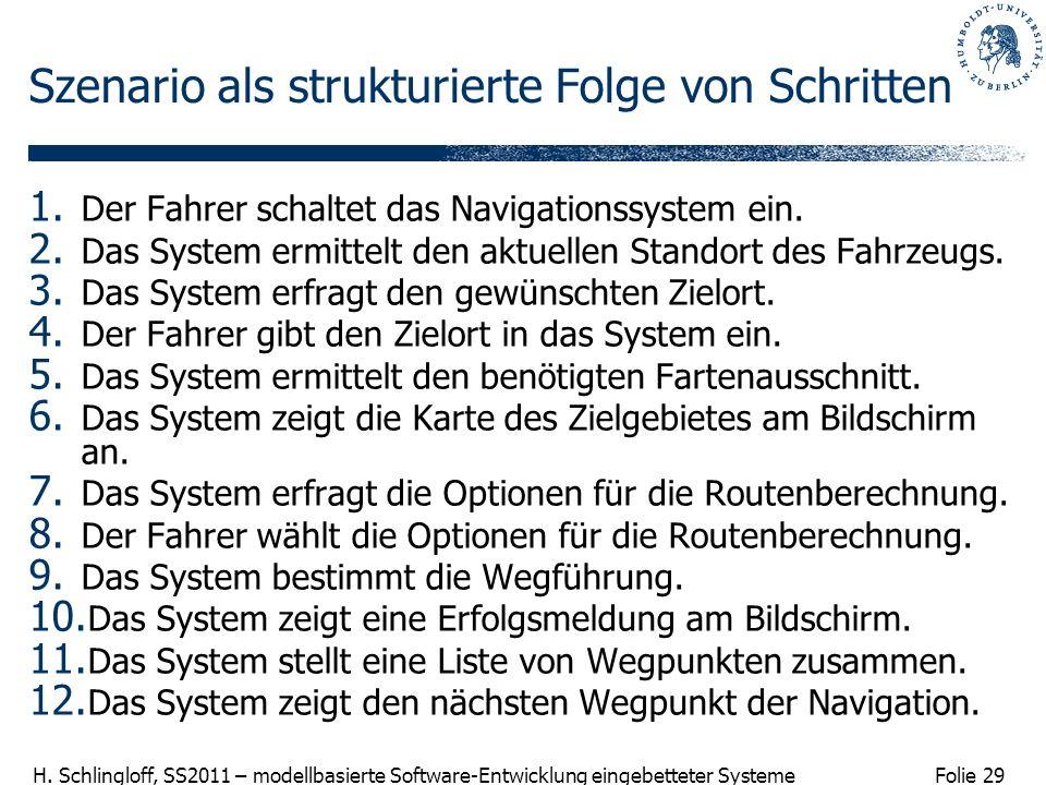 Folie 29 H. Schlingloff, SS2011 – modellbasierte Software-Entwicklung eingebetteter Systeme Szenario als strukturierte Folge von Schritten 1. Der Fahr