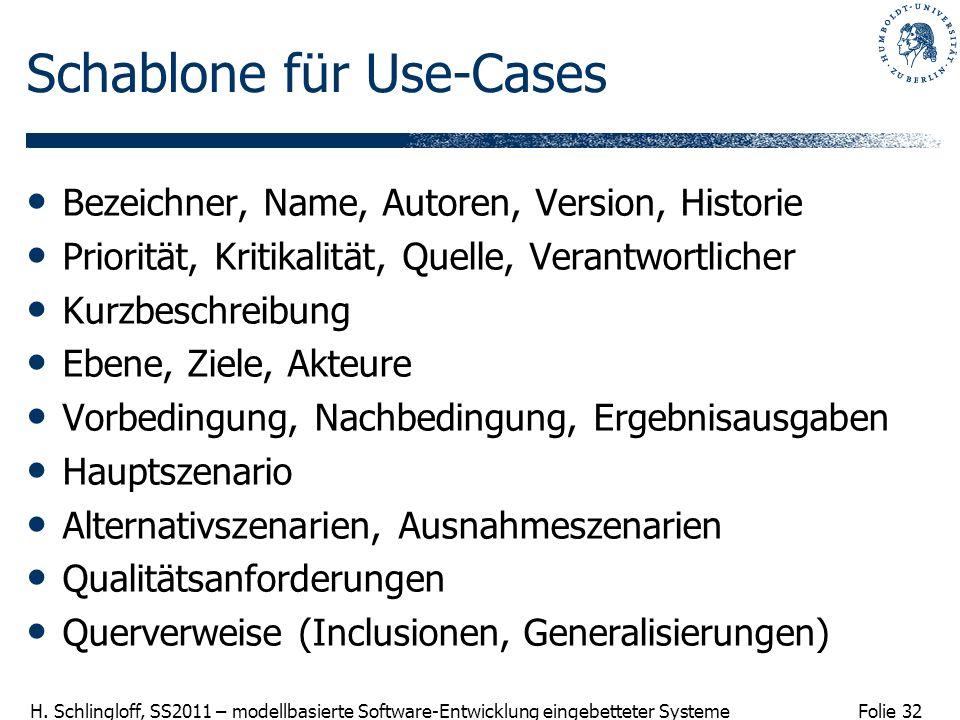 Folie 32 H. Schlingloff, SS2011 – modellbasierte Software-Entwicklung eingebetteter Systeme Schablone für Use-Cases Bezeichner, Name, Autoren, Version