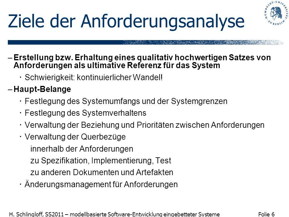 Folie 6 H. Schlingloff, SS2011 – modellbasierte Software-Entwicklung eingebetteter Systeme Ziele der Anforderungsanalyse –Erstellung bzw. Erhaltung ei