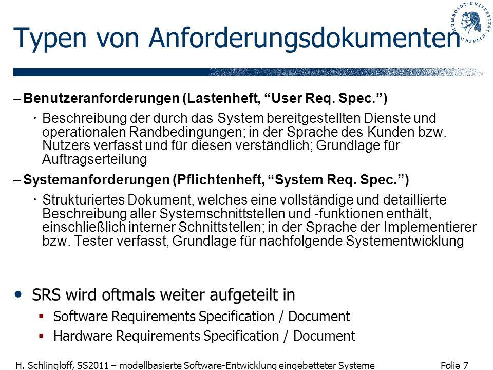 Folie 7 H. Schlingloff, SS2011 – modellbasierte Software-Entwicklung eingebetteter Systeme Typen von Anforderungsdokumenten –Benutzeranforderungen (La