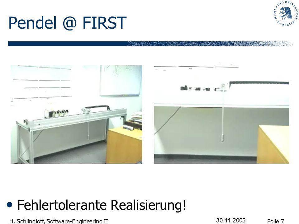 Folie 7 H. Schlingloff, Software-Engineering II 30.11.2005 Pendel @ FIRST Fehlertolerante Realisierung!