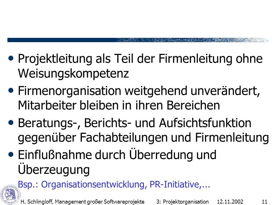 12.11.2002H. Schlingloff, Management großer Softwareprojekte11 Projektleitung als Teil der Firmenleitung ohne Weisungskompetenz Firmenorganisation wei