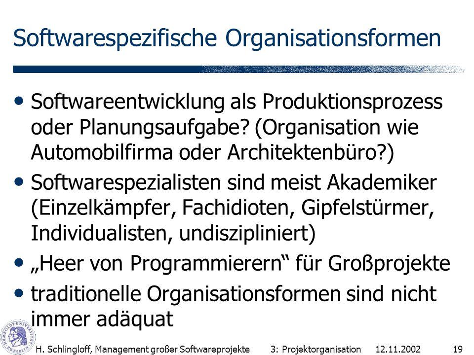 12.11.2002H. Schlingloff, Management großer Softwareprojekte19 Softwarespezifische Organisationsformen Softwareentwicklung als Produktionsprozess oder