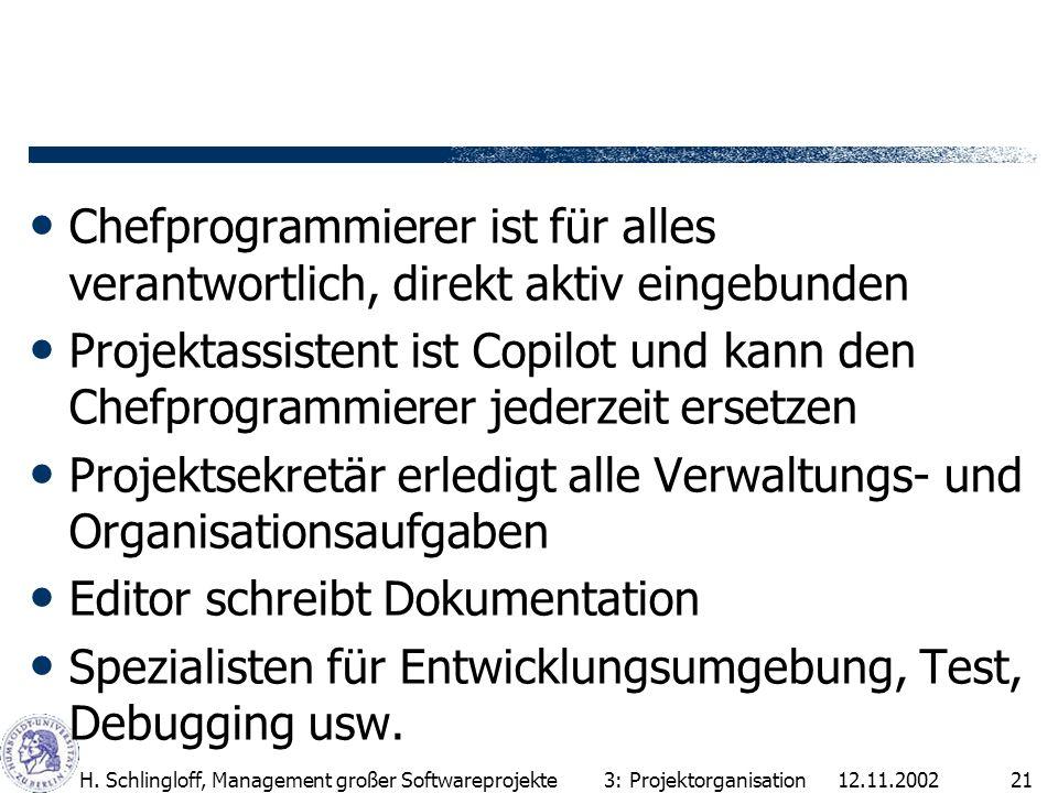 12.11.2002H. Schlingloff, Management großer Softwareprojekte21 Chefprogrammierer ist für alles verantwortlich, direkt aktiv eingebunden Projektassiste