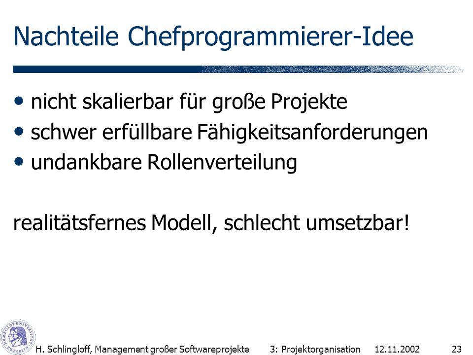 12.11.2002H. Schlingloff, Management großer Softwareprojekte23 Nachteile Chefprogrammierer-Idee nicht skalierbar für große Projekte schwer erfüllbare