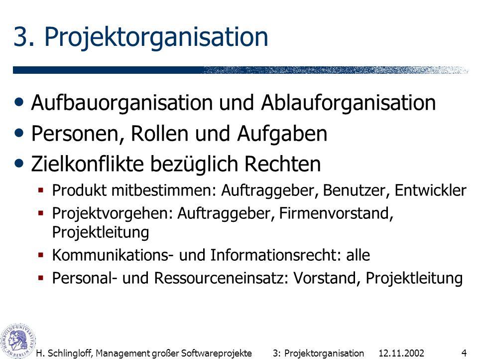 12.11.2002H. Schlingloff, Management großer Softwareprojekte4 3. Projektorganisation Aufbauorganisation und Ablauforganisation Personen, Rollen und Au