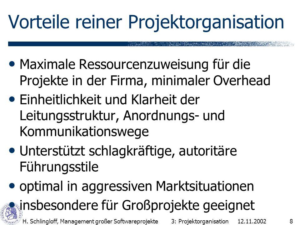 12.11.2002H. Schlingloff, Management großer Softwareprojekte8 Maximale Ressourcenzuweisung für die Projekte in der Firma, minimaler Overhead Einheitli