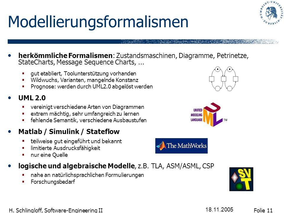 Folie 11 H. Schlingloff, Software-Engineering II 18.11.2005 Modellierungsformalismen herkömmliche Formalismen: Zustandsmaschinen, Diagramme, Petrinetz