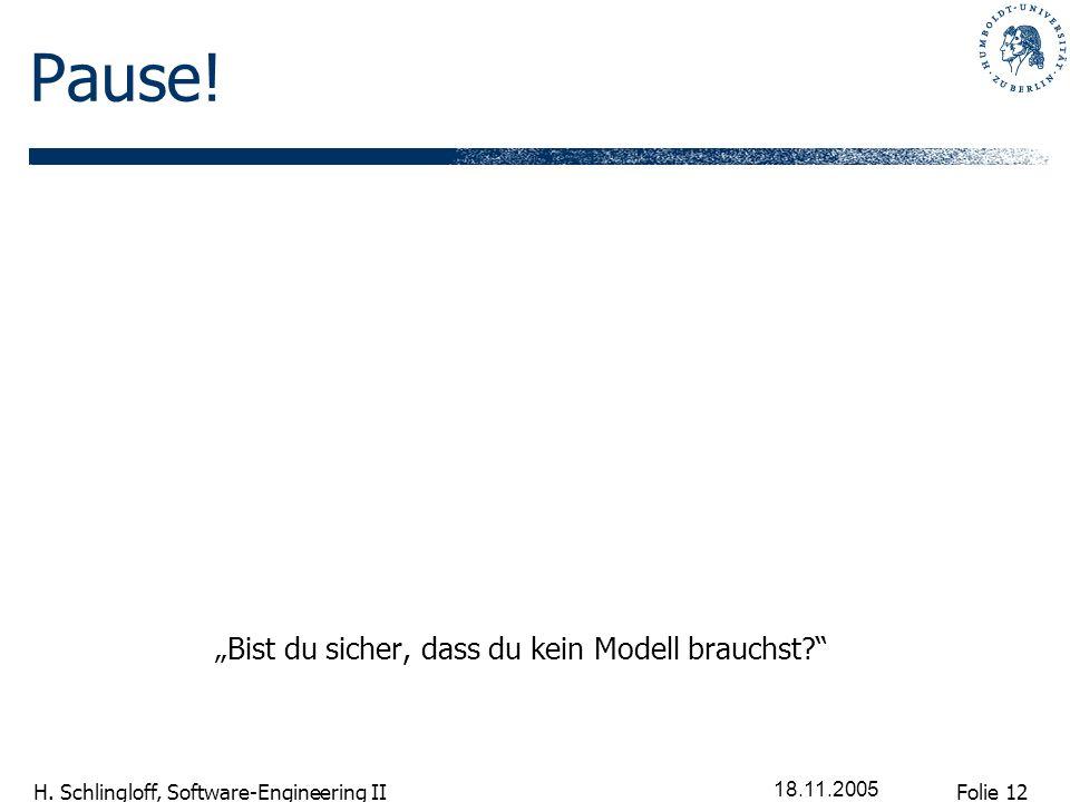Folie 12 H. Schlingloff, Software-Engineering II 18.11.2005 Pause! Bist du sicher, dass du kein Modell brauchst?