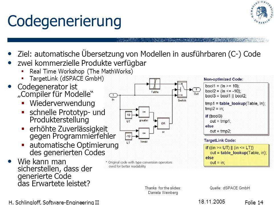 Folie 14 H. Schlingloff, Software-Engineering II 18.11.2005 Codegenerierung Ziel: automatische Übersetzung von Modellen in ausführbaren (C-) Code zwei