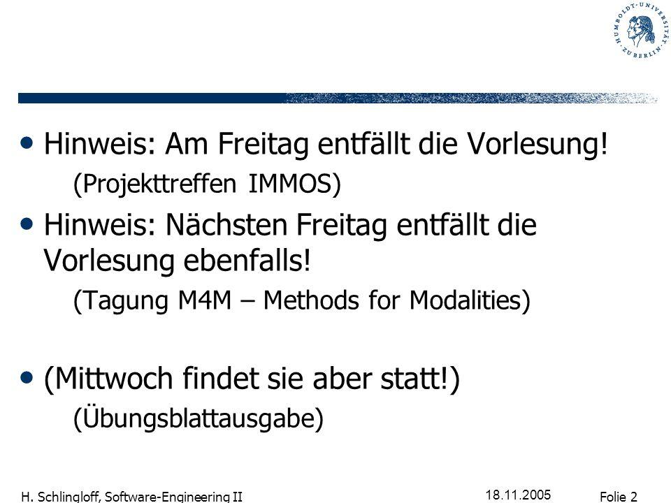 Folie 2 H. Schlingloff, Software-Engineering II 18.11.2005 Hinweis: Am Freitag entfällt die Vorlesung! (Projekttreffen IMMOS) Hinweis: Nächsten Freita