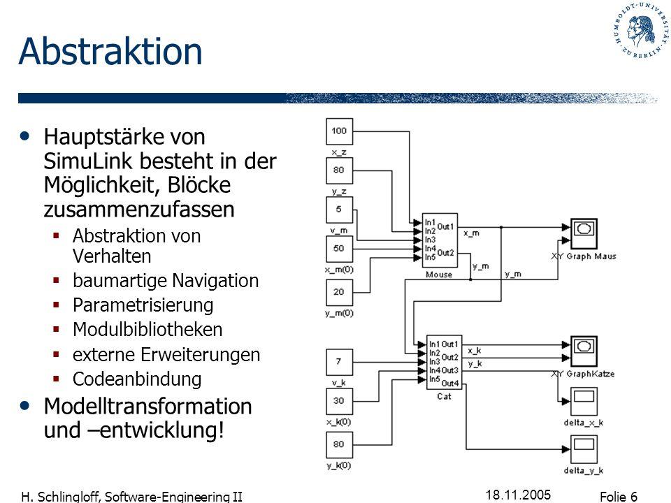 Folie 6 H. Schlingloff, Software-Engineering II 18.11.2005 Abstraktion Hauptstärke von SimuLink besteht in der Möglichkeit, Blöcke zusammenzufassen Ab