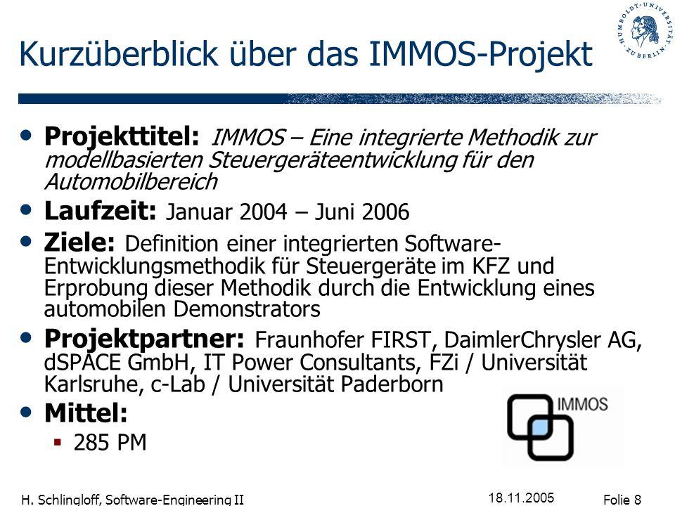 Folie 8 H. Schlingloff, Software-Engineering II 18.11.2005 Kurzüberblick über das IMMOS-Projekt Projekttitel: IMMOS – Eine integrierte Methodik zur mo