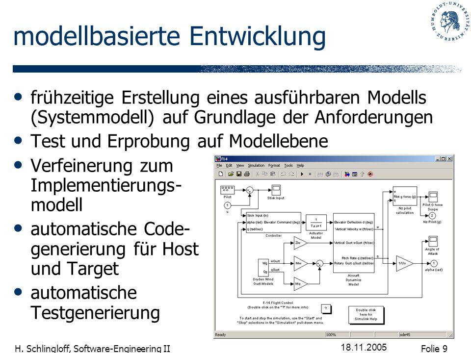 Folie 9 H. Schlingloff, Software-Engineering II 18.11.2005 modellbasierte Entwicklung frühzeitige Erstellung eines ausführbaren Modells (Systemmodell)