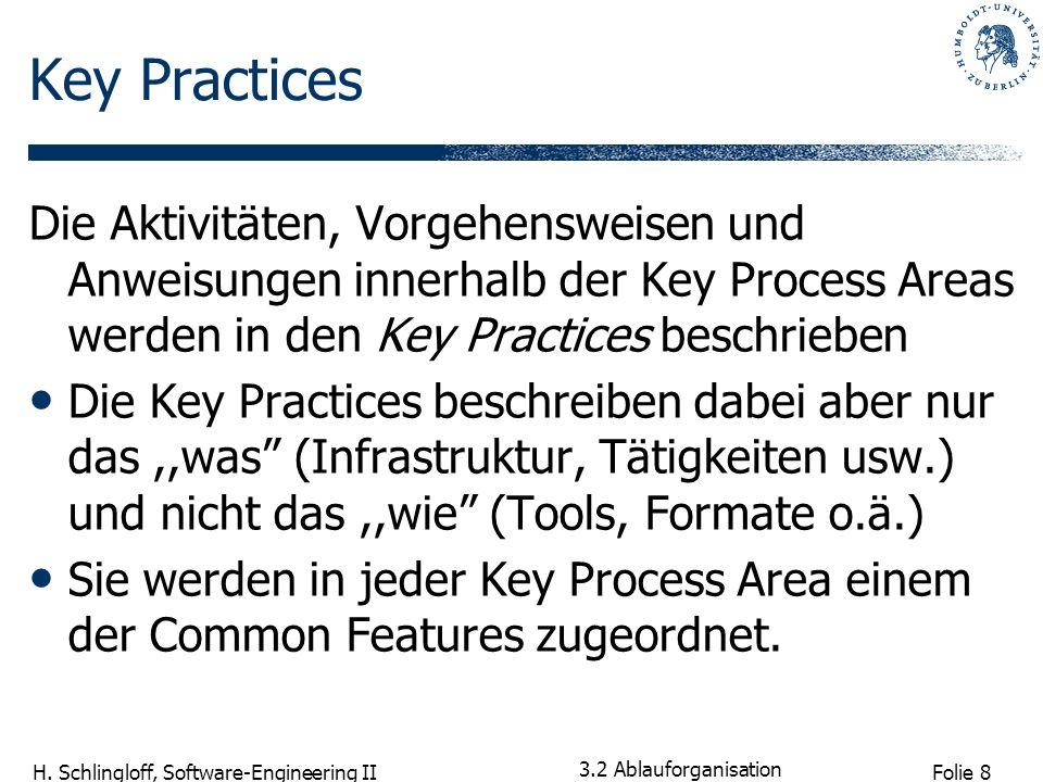 Folie 9 H. Schlingloff, Software-Engineering II 3.2 Ablauforganisation Grafik: CMU SEI