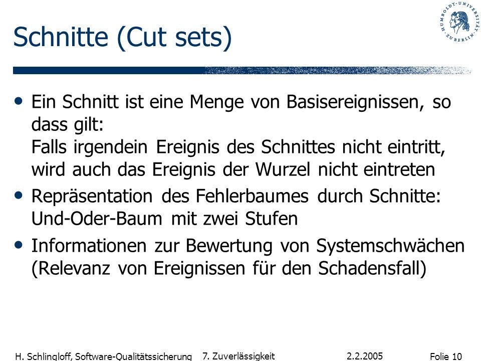 Folie 10 H. Schlingloff, Software-Qualitätssicherung 2.2.2005 7. Zuverlässigkeit Schnitte (Cut sets) Ein Schnitt ist eine Menge von Basisereignissen,