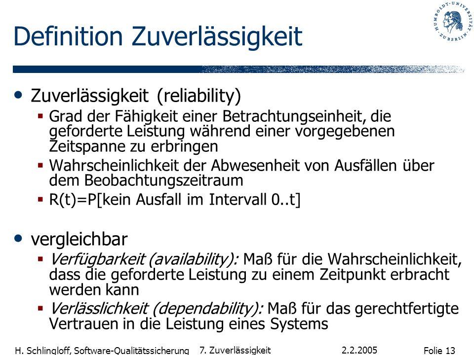 Folie 13 H. Schlingloff, Software-Qualitätssicherung 2.2.2005 7. Zuverlässigkeit Definition Zuverlässigkeit Zuverlässigkeit (reliability) Grad der Fäh