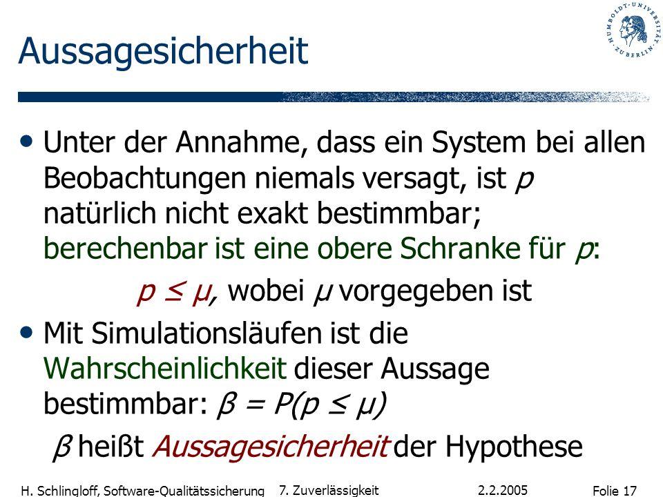 Folie 17 H. Schlingloff, Software-Qualitätssicherung 2.2.2005 7. Zuverlässigkeit Aussagesicherheit Unter der Annahme, dass ein System bei allen Beobac