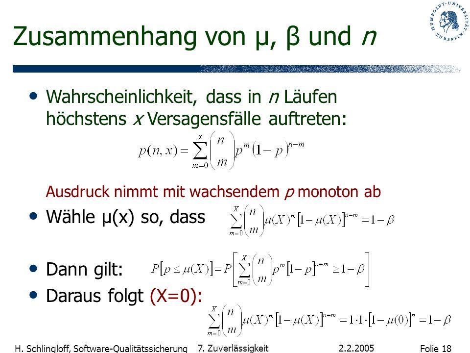 Folie 18 H. Schlingloff, Software-Qualitätssicherung 2.2.2005 7. Zuverlässigkeit Zusammenhang von µ, β und n Wahrscheinlichkeit, dass in n Läufen höch