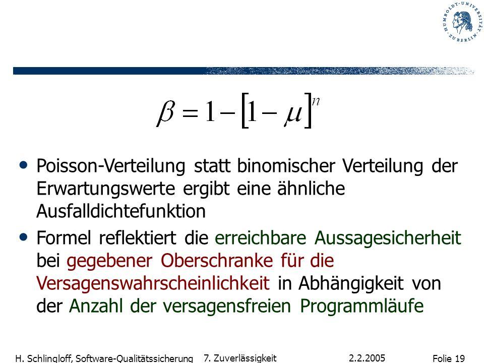 Folie 19 H. Schlingloff, Software-Qualitätssicherung 2.2.2005 7. Zuverlässigkeit Poisson-Verteilung statt binomischer Verteilung der Erwartungswerte e