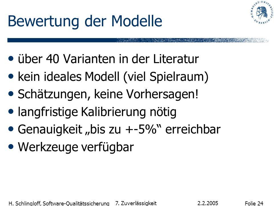 Folie 24 H. Schlingloff, Software-Qualitätssicherung 2.2.2005 7. Zuverlässigkeit Bewertung der Modelle über 40 Varianten in der Literatur kein ideales