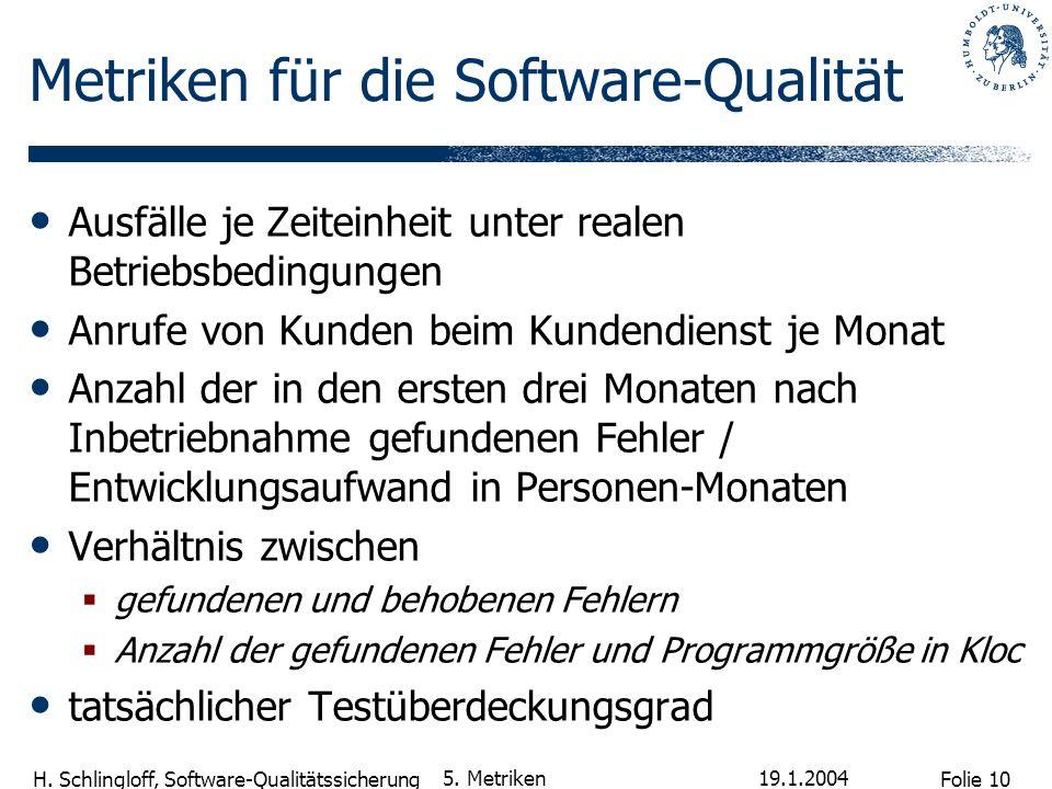 Folie 10 H.Schlingloff, Software-Qualitätssicherung 19.1.2004 5.