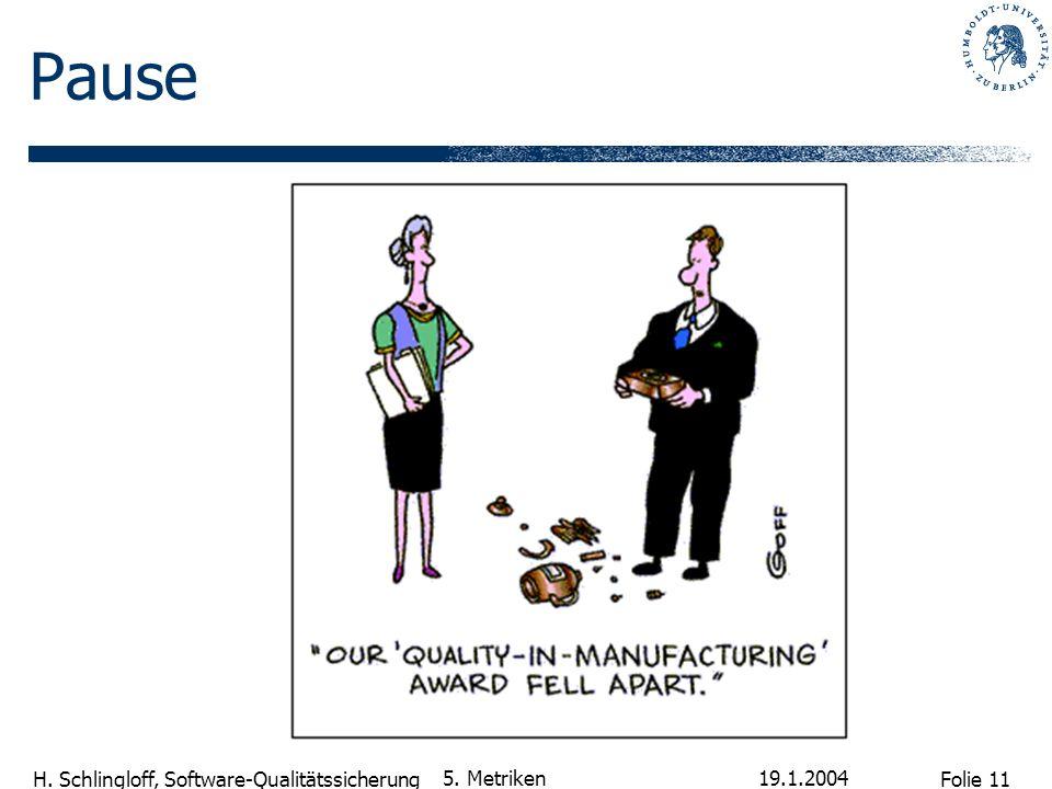 Folie 11 H. Schlingloff, Software-Qualitätssicherung 19.1.2004 5. Metriken Pause