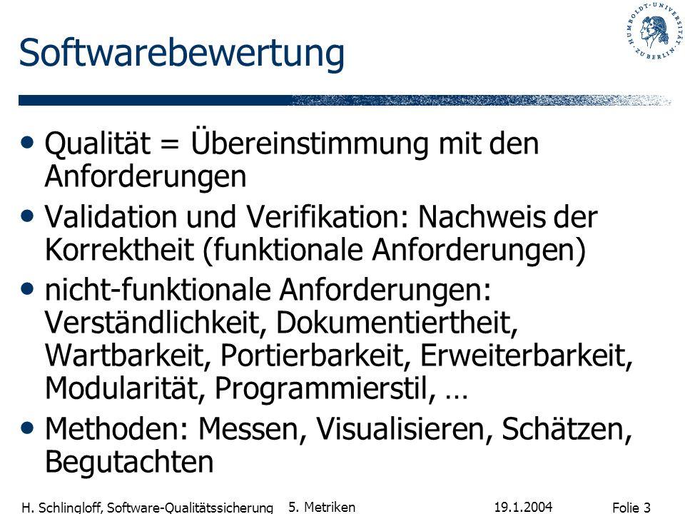 Folie 14 H.Schlingloff, Software-Qualitätssicherung 19.1.2004 5.