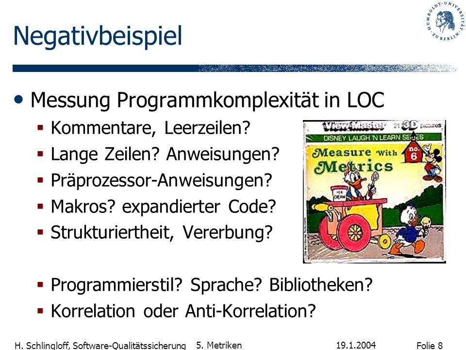 Folie 19 H.Schlingloff, Software-Qualitätssicherung 19.1.2004 5.