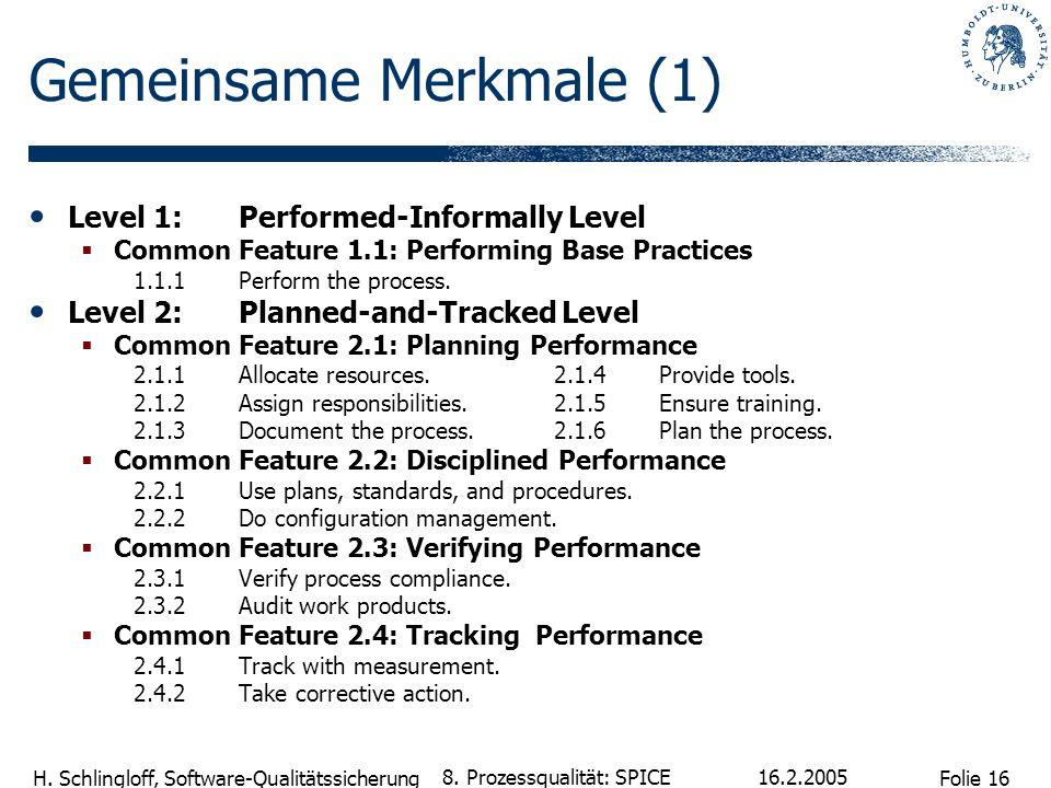 Folie 16 H. Schlingloff, Software-Qualitätssicherung 16.2.2005 8. Prozessqualität: SPICE Gemeinsame Merkmale (1) Level 1:Performed-Informally Level Co