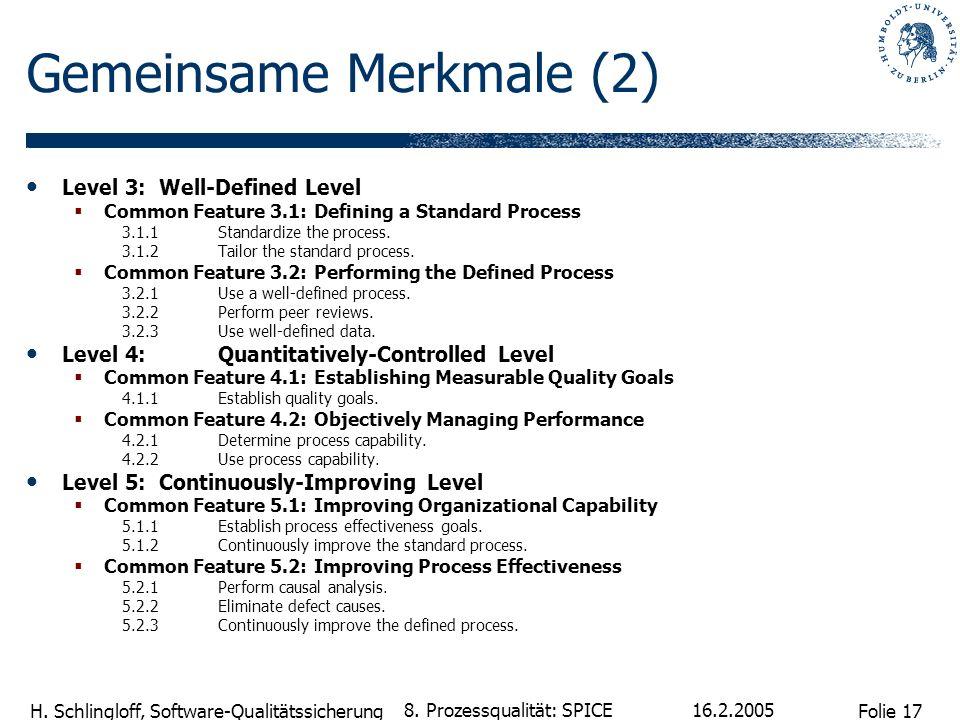 Folie 17 H. Schlingloff, Software-Qualitätssicherung 16.2.2005 8. Prozessqualität: SPICE Gemeinsame Merkmale (2) Level 3: Well-Defined Level Common Fe