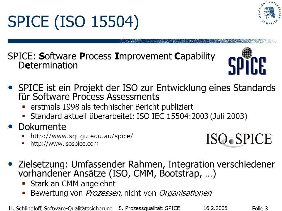 Folie 3 H. Schlingloff, Software-Qualitätssicherung 16.2.2005 8. Prozessqualität: SPICE SPICE (ISO 15504) SPICE: Software Process Improvement Capabili