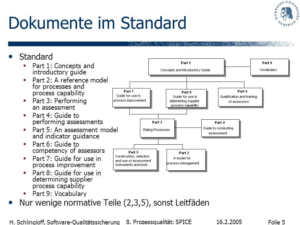 Folie 5 H. Schlingloff, Software-Qualitätssicherung 16.2.2005 8. Prozessqualität: SPICE Dokumente im Standard Standard Part 1: Concepts and introducto