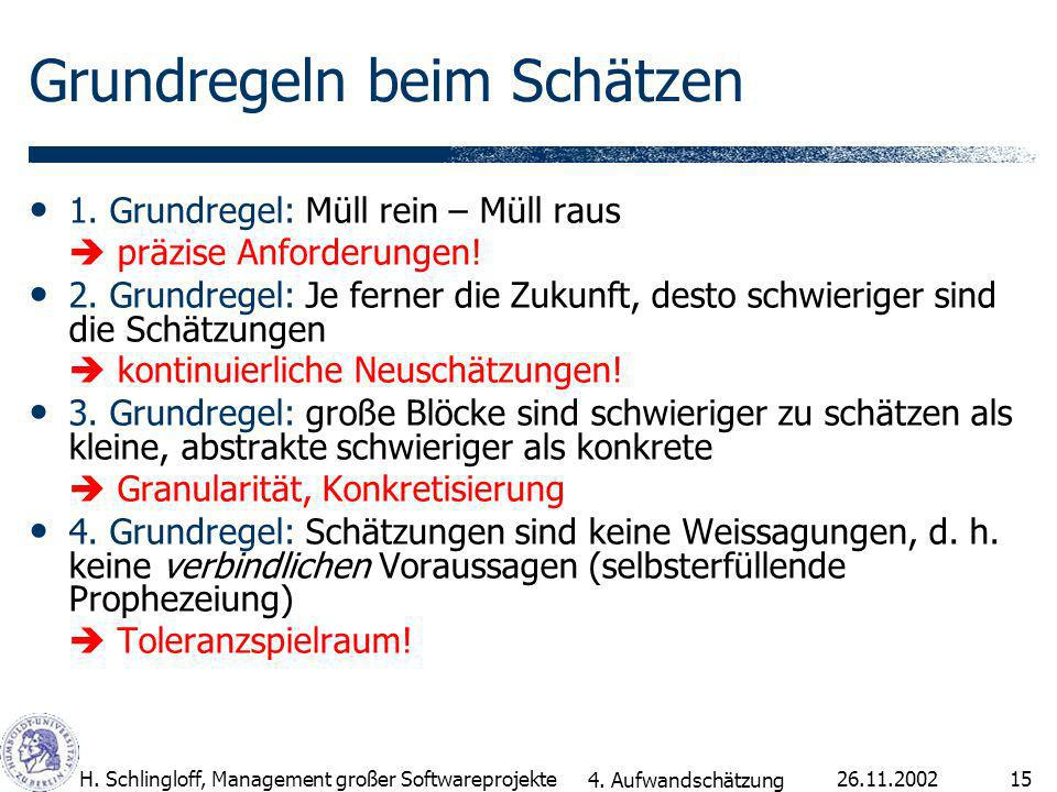 26.11.2002H. Schlingloff, Management großer Softwareprojekte15 Grundregeln beim Schätzen 1.