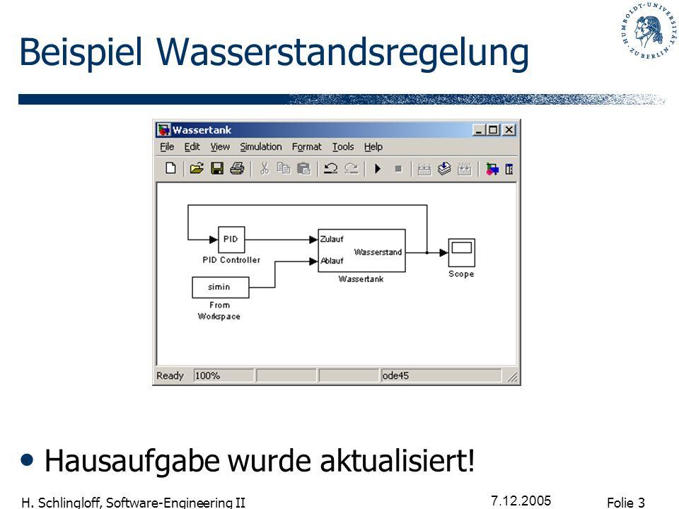 Folie 3 H. Schlingloff, Software-Engineering II 7.12.2005 Beispiel Wasserstandsregelung Hausaufgabe wurde aktualisiert!