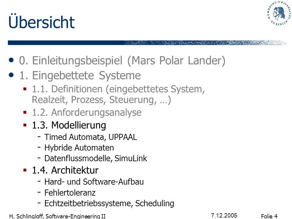 Folie 4 H. Schlingloff, Software-Engineering II 7.12.2005 Übersicht 0. Einleitungsbeispiel (Mars Polar Lander) 1. Eingebettete Systeme 1.1. Definition