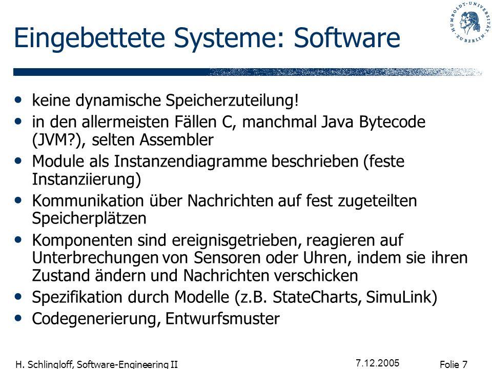 Folie 7 H. Schlingloff, Software-Engineering II 7.12.2005 Eingebettete Systeme: Software keine dynamische Speicherzuteilung! in den allermeisten Fälle
