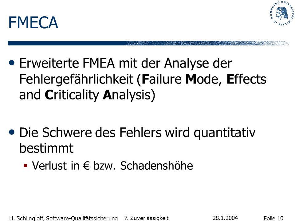 Folie 10 H. Schlingloff, Software-Qualitätssicherung 28.1.2004 7. Zuverlässigkeit FMECA Erweiterte FMEA mit der Analyse der Fehlergefährlichkeit (Fail
