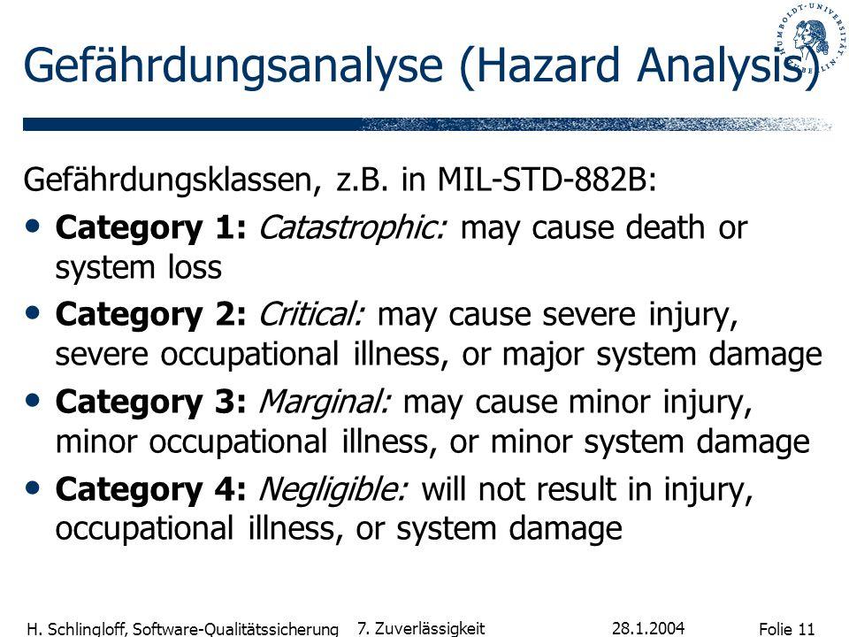 Folie 11 H. Schlingloff, Software-Qualitätssicherung 28.1.2004 7. Zuverlässigkeit Gefährdungsanalyse (Hazard Analysis) Gefährdungsklassen, z.B. in MIL