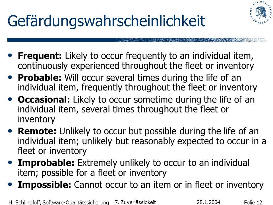 Folie 12 H. Schlingloff, Software-Qualitätssicherung 28.1.2004 7. Zuverlässigkeit Gefärdungswahrscheinlichkeit Frequent: Likely to occur frequently to